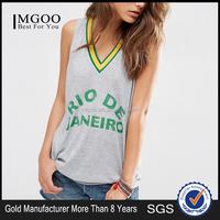 China OEM Factory Cheap Price Girl T-shirt V-Neck 100% Cotton Women V-Neck Printing Sleeveless T-shirt