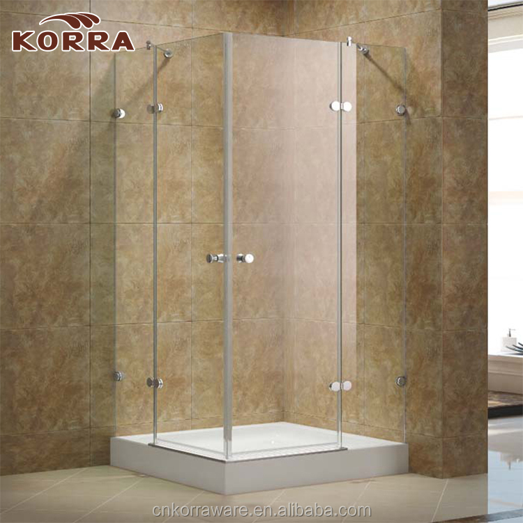 Bathroom Products Corner Frameless Shower Enclosure 2 sided Hinged Doors, Clear Glass shower room