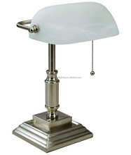 (C)UL&ETL metal accents and white glass shade w/brushed nickel finish bankers lamp/desk lamp