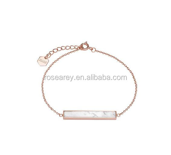 stone Jewelry White Marble Bar Chain Bracelet With brand tags