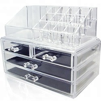2018 Newest Chinese factory Transparent 3 drawer acrylic makeup organizer