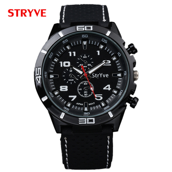 STRYVE S8003 Men Military Pilot Army Style Silicone Sport Wrist Watch Reloj Hombre Fashion Quartz Watches Men