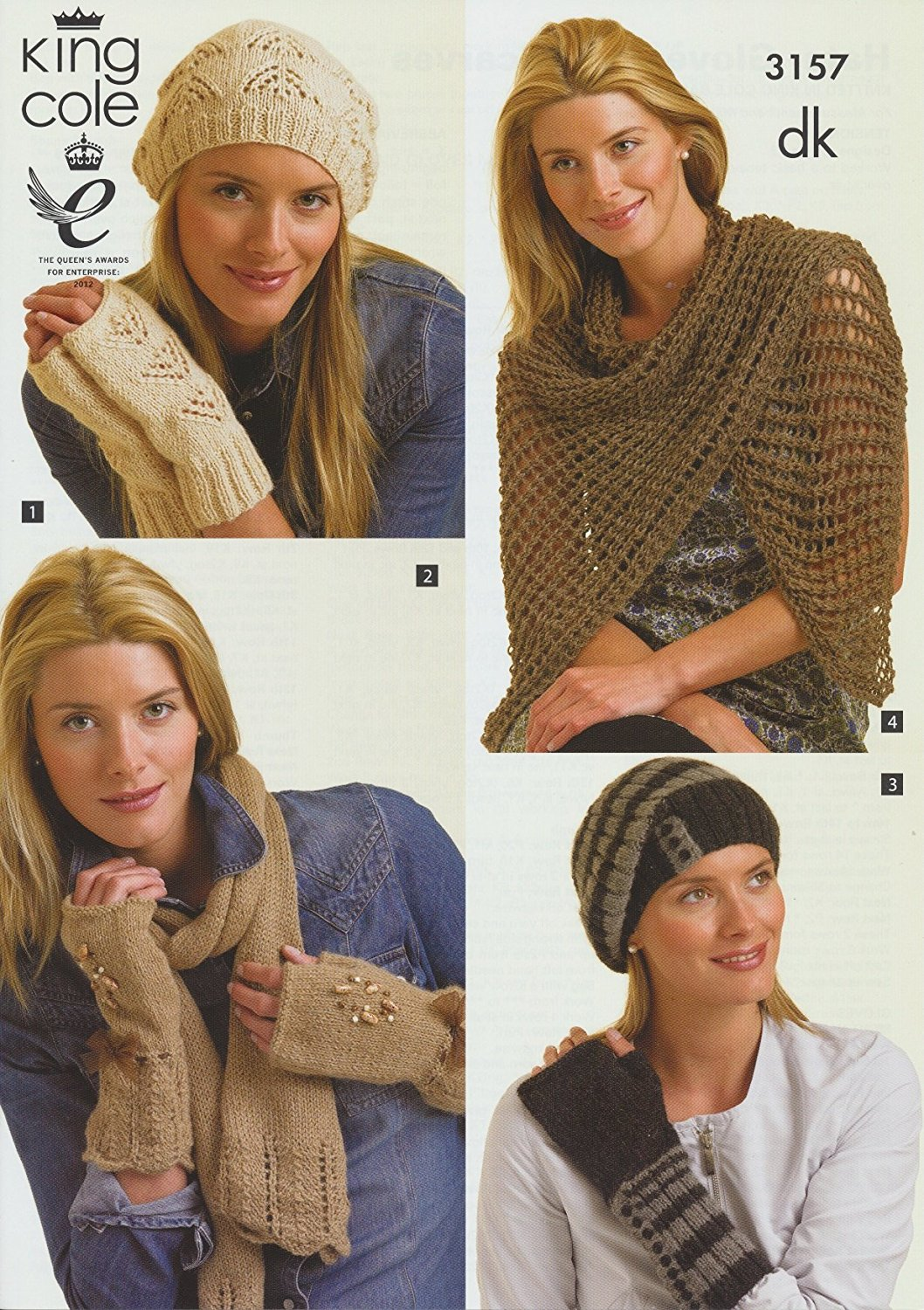 e9d101bd13d Get Quotations · King Cole Ladies DK Knitting Pattern Womens Winter Hats