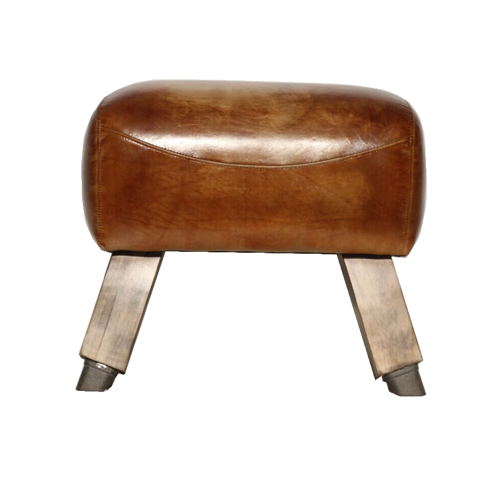 Genuine Large leather Bench pommel horse style Foot stool
