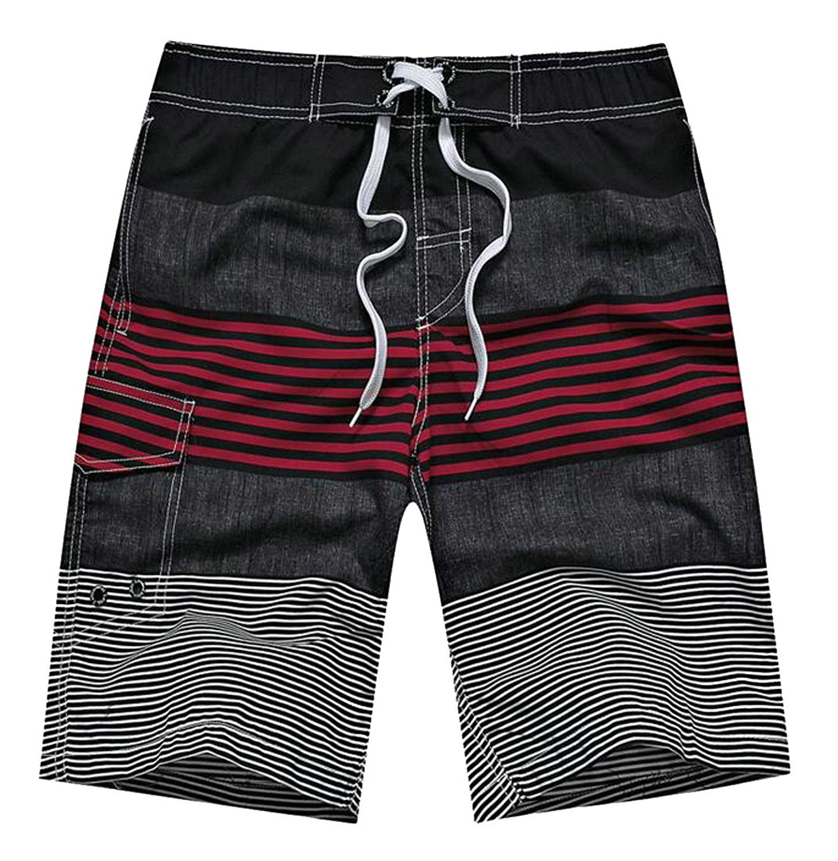 XiaoTianXin-men clothes XTX Men Print Elastic Waist Loose-Fit Beach Wear Striped Thin Shorts