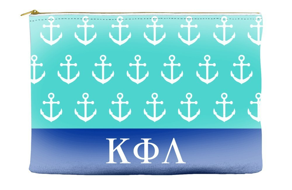 Kappa Phi Lambda Anchors Teal Cosmetic Accessory Pouch Bag for Makeup Jewelry & other Essentials