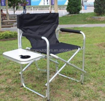 Heavy Duty Tall Slim-Fold Directors Chair with Strong Fabric, Side Table ,Cup Holder, Footrest and Carry Handles