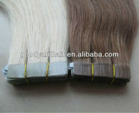 Wholesale 100% Brazilian Virgin Remy Human Hair Brown color PU weft thin Skin Weft double sided tape synthetic hair extension