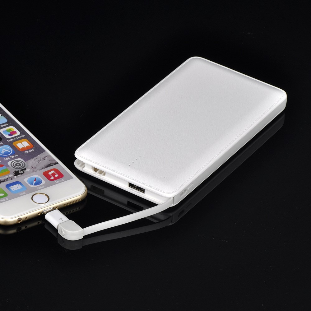 Latest 10000mAh card power bank with Built-in charging cable and connector