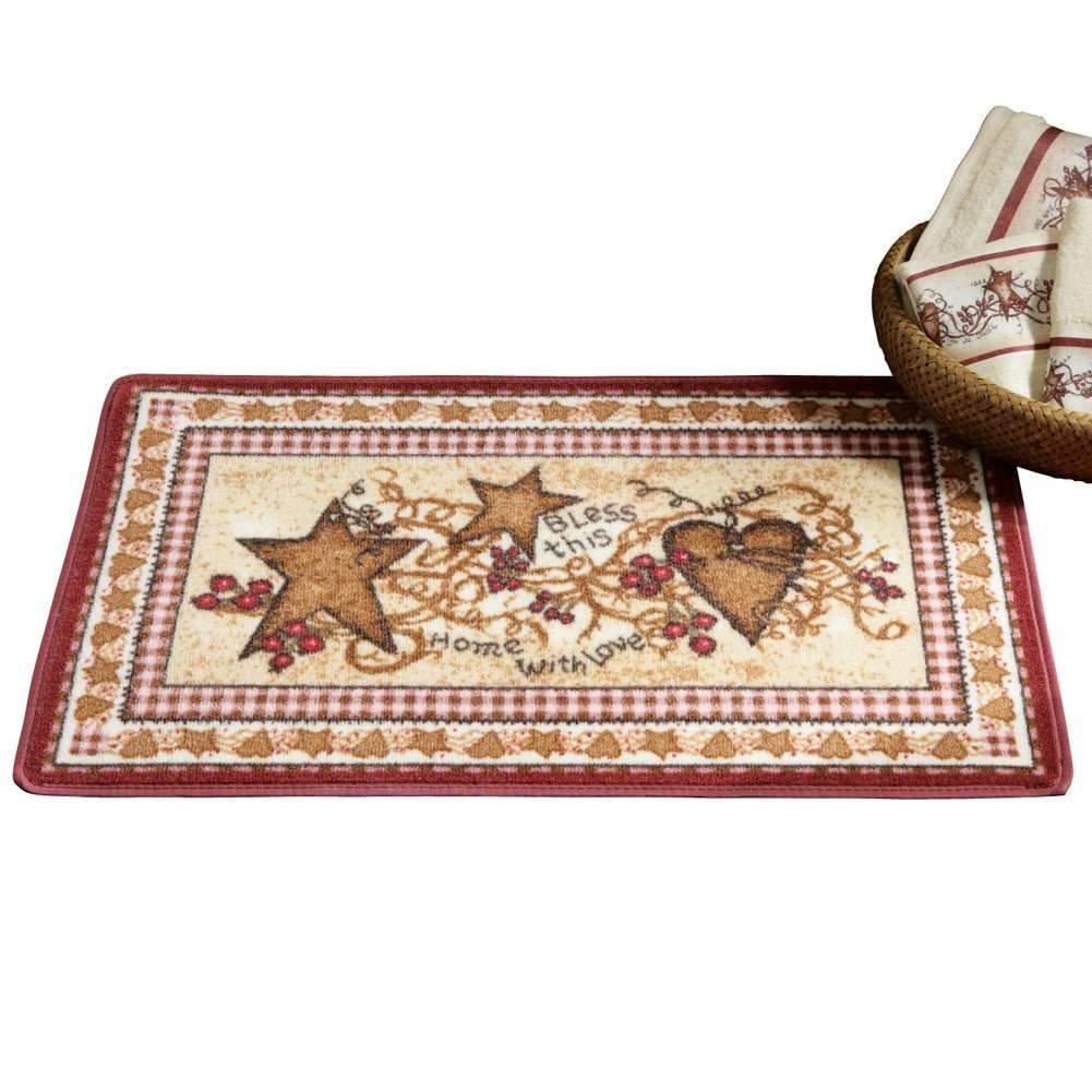 charming Primitive Hearts And Stars Part - 17: Get Quotations · Primitive Country Hearts and Stars Accent Rug