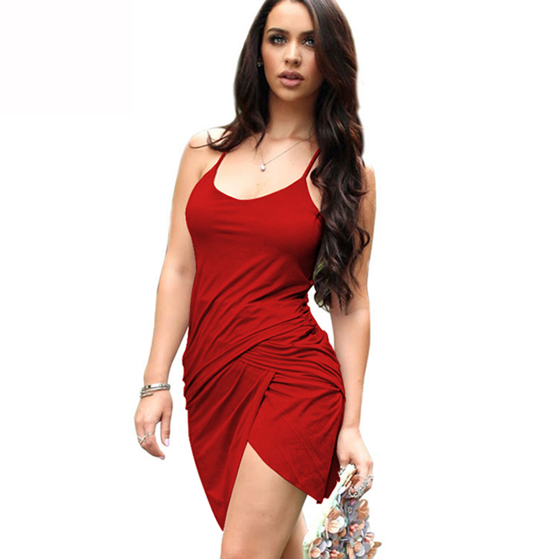9578176ea8 Get Quotations · 2015 summer new style cotton sexy asymmetrical women  dresses O-neck low cut tape hot