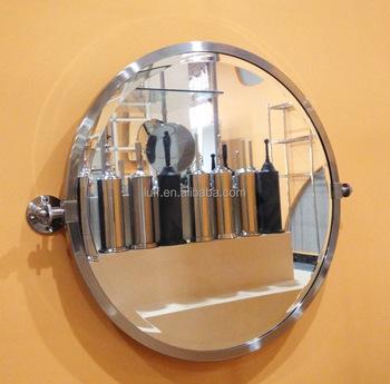Modern Style Bathroom Tilt Mirror Stainless Steel Framed Wall Mounted Pivoting Round Swivel Adjule