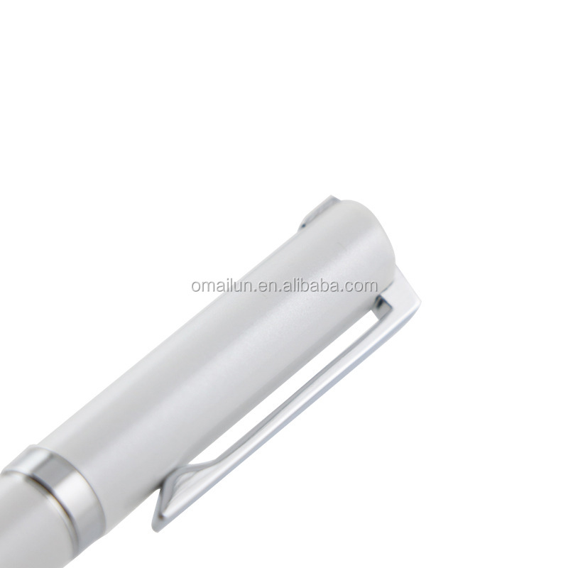Promotional white custom logo metal rollerball pen (gift set)
