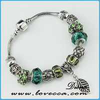 2016 Summer Silver Plated Green Murano Glass Bead Charm Bracelet