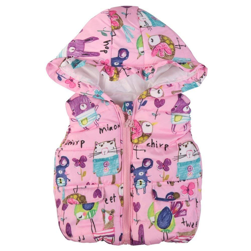 8c19d5b6d8 Get Quotations · LOSORN ZPY Baby Girl s Faux Fur Winter Gilet Sleeveless Gilet  Body Warmer With Hood Short