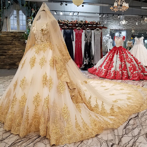 05455 luxury bridal wedding dress gown Muslim wedding dresses with lace  detachable train