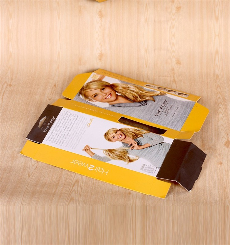 Customized fancy folding hair extension paper packaging box