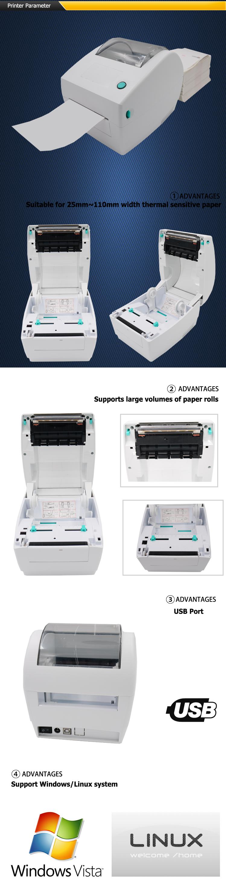 Beeprt 4 inch langsung alamat label sticker printer termal untuk label