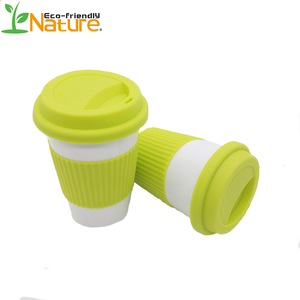 New Material Customize Logo Printed Biodegradable PLA Coffee Mug With Silicon Lid And Sleeve