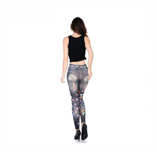 Wholesale Newest sexy women fitness flower printing jeans leggings