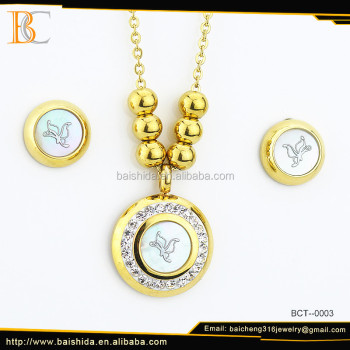 Fashion new design white and gold stainless steel and shell necklace set pendant for bridal jewelry set