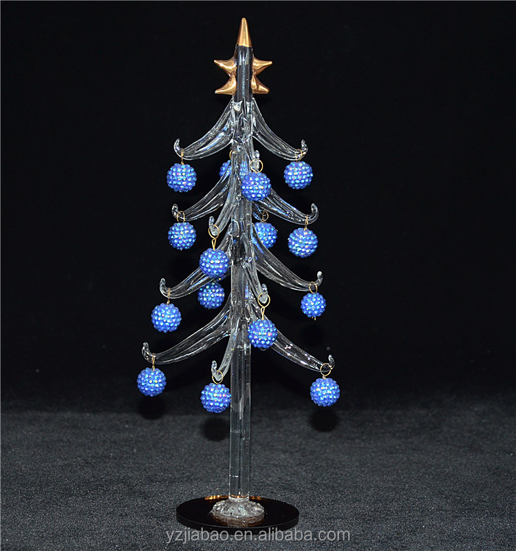 Hot selling christmas crystal decoration product 2016, 30cm clear crystal tree with blue hangings, mirror bottom from ali trader