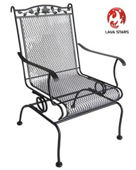 Wrought Iron High Back Motion Chair Patio Furniture Buy Steel Mesh