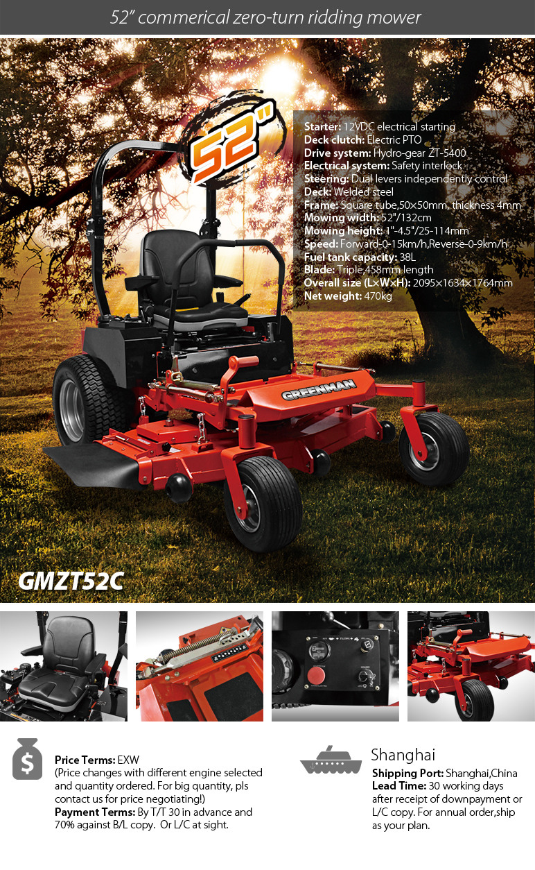 Best price zero turn mower 52 inch with Loncin engine riding on mower, View  zero turn mower, GREENMAN Product Details from Greenman Machinery Company