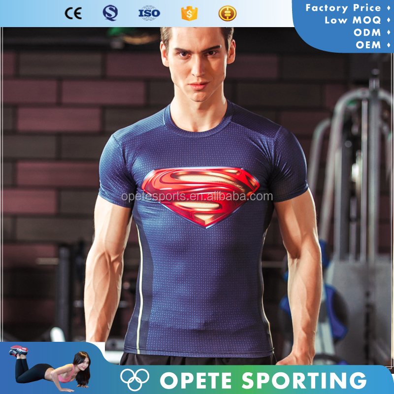 (OEM FACTORY)2016 OEM Manufacturer Spandex sports wholesale youth sublimation custom printed compression shirts