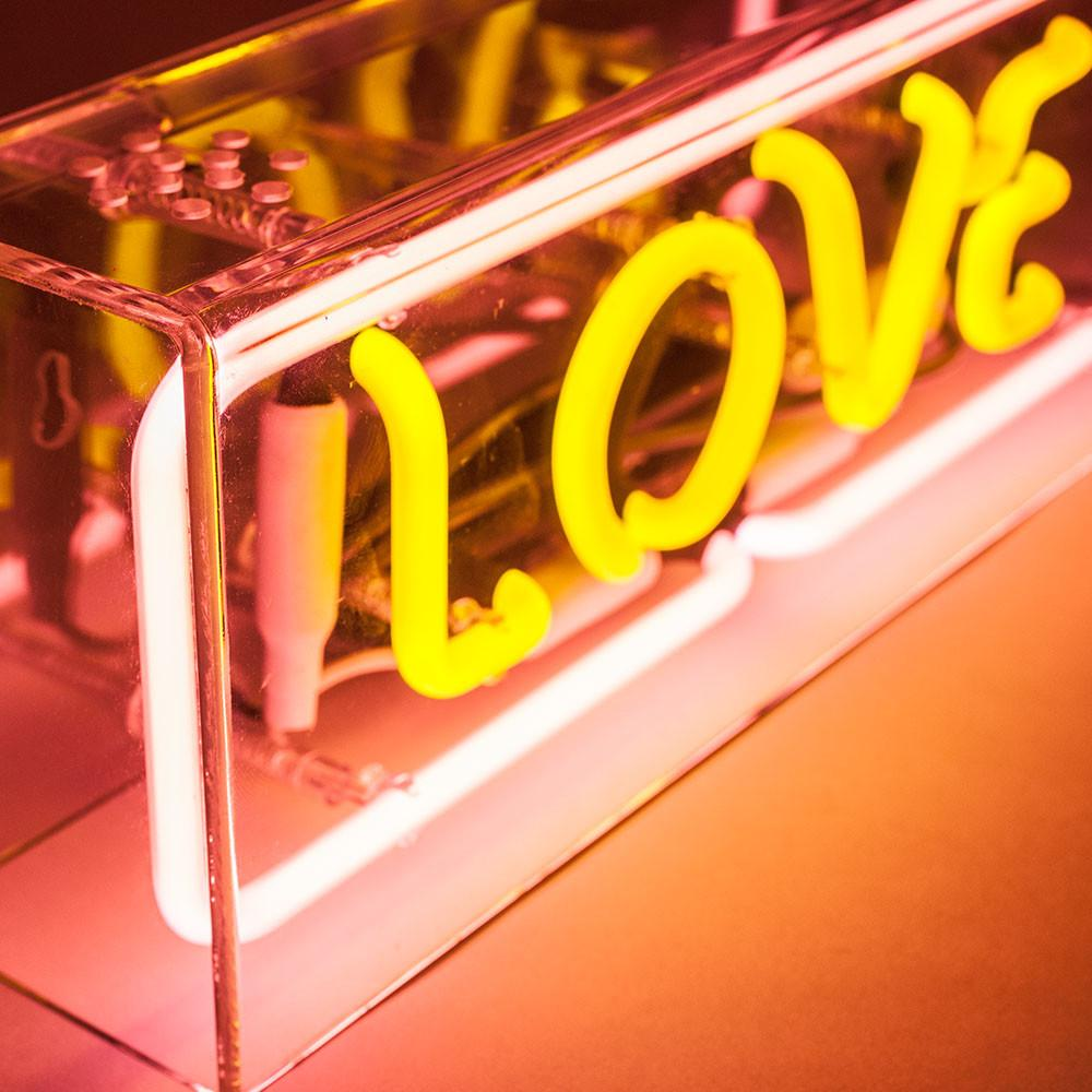 high quality love custom acrylic box neon sign for wall mounted