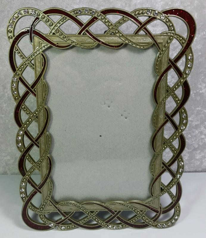 "Pewter Frame Photo Size 4""x6"" Sparkle Faux Gems Red Ivory Color Accents Elegant"