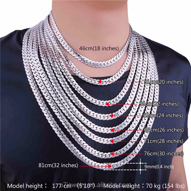 U7 9mm Curb Cuban Link Chain Gold Plated Silver Color