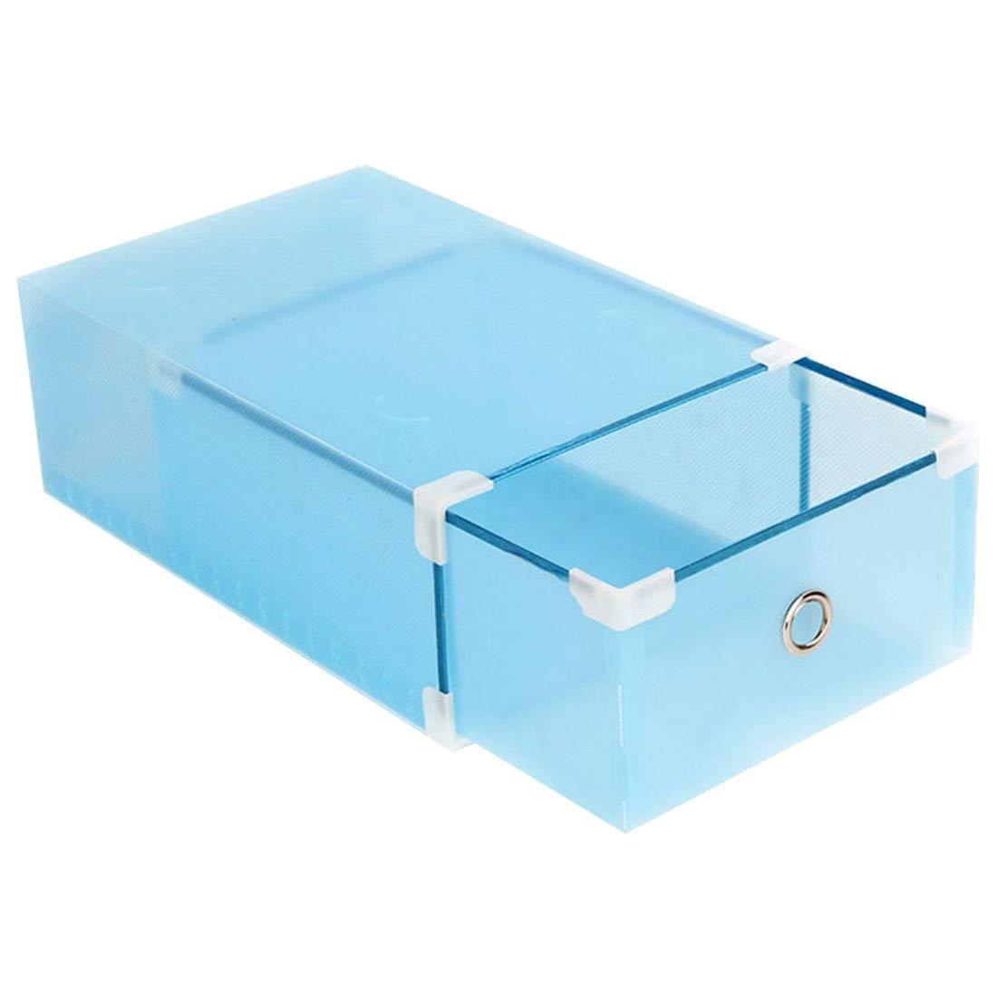 SODIAL(R) Shoes Box Transparent Plastic Drawer Type Metal Edging Thick Plastic Storage Box, Blue