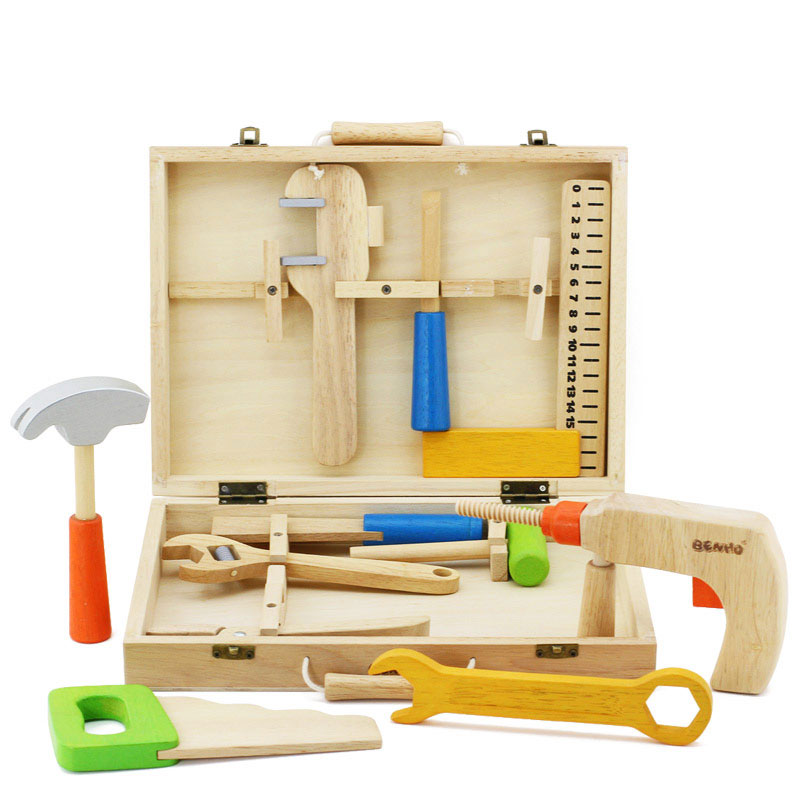 High quality Wooden Tool Toys Kids Educational Power Tool Set Toy