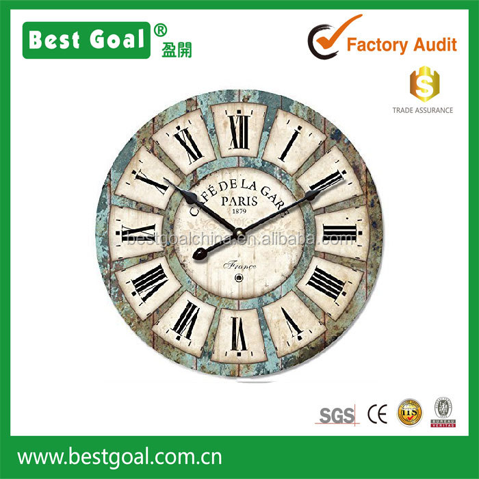 Round MDF vintage art wall clock decorative clock