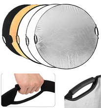 "Professional Photo Shoot Equipment 5-in-1 Photography Round Portable Folded Reflector 110cm 43"" With Non-slip Handle"