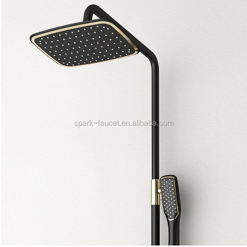 Wholesale 2017 New Design Luxury High End Brass Black Gold Exposed Rainfall Shower Head Column