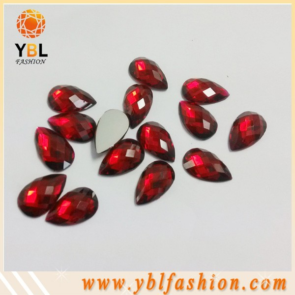 Flat Back Faceted Red Teardrop Acrylic Rhinestones Factory