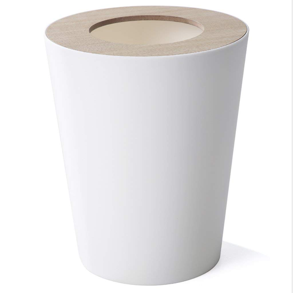 Trash Can Round, 9liter/2.5gallon Garbage Can With Wood grain Lid, Wastebasket Toilet Trash Bin Garbage Container Bin For Bathrooms, Kitchens, Living Room (Color : White)