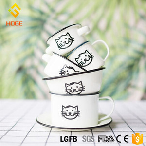 Food Grade Enamel Cookware Metal Dishes Wholesale Enamel Plates 16cm Cat Face Christmas gifts