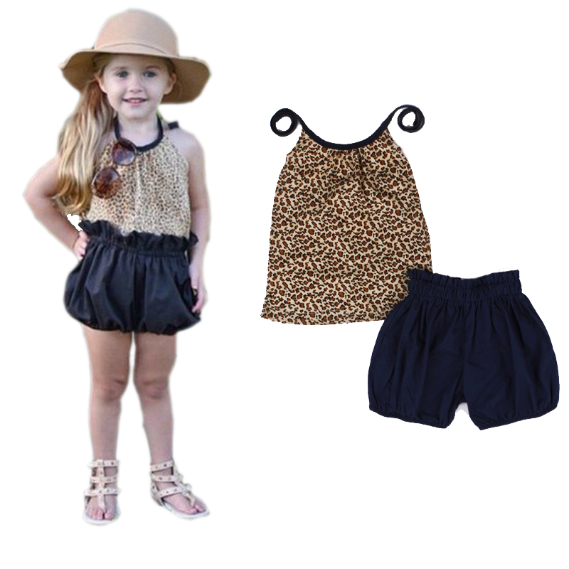 New Arrive 2-7Y Summer 2015 Kids Fashion Girls Clothing Sets Leopard Spaghetti Top + Black Shorts Baby Girl Clothes Set  10142