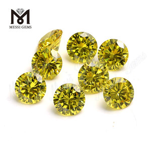 Wholesale CZ Loose Synthetic Yellow Round Cubic Zirconia Stone
