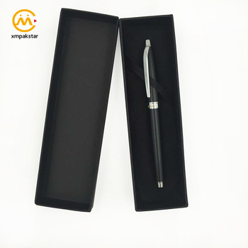 Custom logo printed exquisite black paper cardboard pen packaging gift box