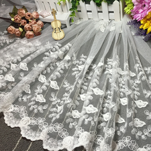 Golden Knit 125cm Width Wedding Dress Lace Cotton Embroidery Swiss Voile Lace Fabric 085125#