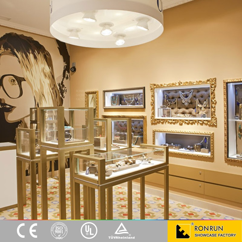 Golden Jewelry Display Counter Wall Mounted Showcase For Jewelry ...