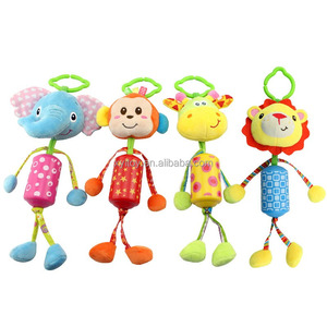 Soft baby doll stuffed plush cartoon animals monkey elephant giraffe with ring bell for early education gift