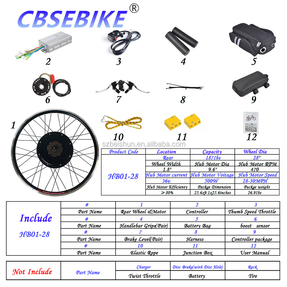 CBSEBIKE Factory Direct Cheap conversion kit ebike 36v500w 28 Inch 36 volt electric kit for bicycle HB01-28