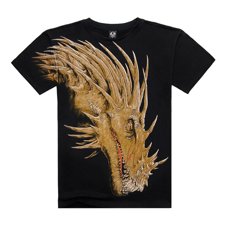 Summer style fashion men T-shirts O-neck Cotton casual short sleeve print dinosaur 3D T-shirts hip hop street wear Streetwear
