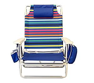 Nautica Reclining Folding Beach Chair with Insulated Cooler & Cup Holder (Rainbow Stripe)