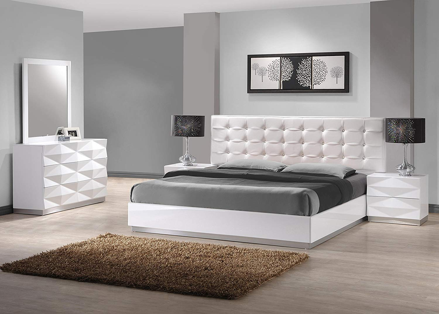 J and M Furniture 17688-KBG Verona K Bed Room Set Bedroom Furniture